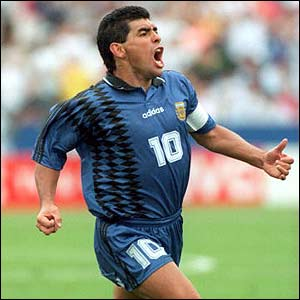 Maradona celebrates scoring against Greece in the 1994 World Cup in the US