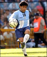 Maradona is involved in a match held in his honour against a Rest of the World team in Buenos Aires