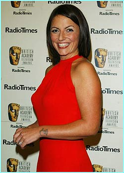 Here's the hostess for the evening, Davina McCall, looking fabulous in this scarlet number