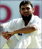 Saqlain Mushtaq in action for Pakistan