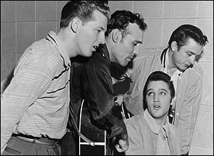 Jerry Lee Lewis, Carl Perkins, Elvis Presley and Johnny Cash