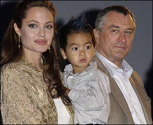 Actress Angelina Jolie, Maddox and Robert De Niro.