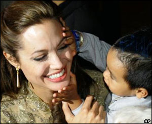 Actress Angelina Jolie and her son, Maddox.