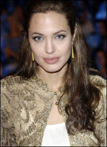 Actress Angelina Jolie at the premiere of Shark Tale.