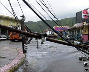 Fallen electricity pole in Kingston, Jamaica