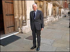 Lord Hutton outside the Royal Courts of Justice