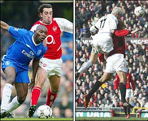 Goalscorer Edu charges past Chelsea's Geremi (left) whilst Alan Smith nods home for  Leeds (right)