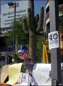 A makeshift memorial at Arizona State University