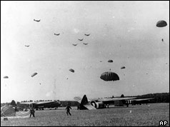 British paratroopers land in the outskirts of the city of Arnhem, in eastern Netherlands in September 1944