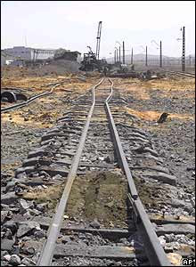 Damaged and buckled railway tracks in Ryongchon