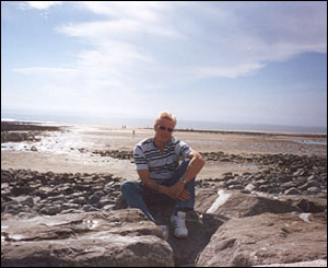 Mark Kirkham on the beach of Llantwit Major in the Vale of Glamorgan