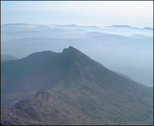 The mists around Snowdon, as captured by Ashley, from Sketty