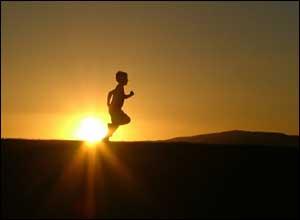 Jake running at sunset