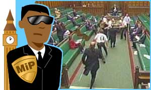 Man in Parliament looks at the Commons protesters