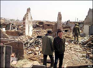 Ryonchon residents amid rubble