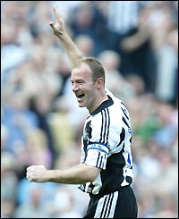 Alan Shearer celebrates his fine goal for Newcastle