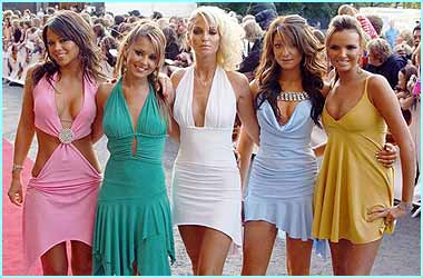 Girls Aloud arrived at the ceremony wearing co-ordinated candy-coloured dressed...
