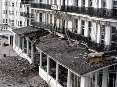 Bomb damage at Brighton's Grand Hotel