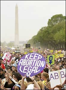 Women at the abortion march in Washington