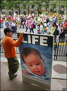 Anti-abortion demonstrator on Pennsylvania Avenue in Washington