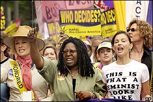 Cybill Shepherd, Whoopi Goldberg and Ashley Judd march in Washington
