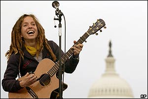 Singer Ani DiFranco at the abortion march in Washington