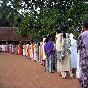 Voters queue in Mangalore (picture courtesy of PP Singh)