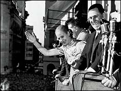 Eva Peron with her husband Juan on the balcony of Casa Rosada Government House, in Buenos Aires Oct. 17, 1950 .