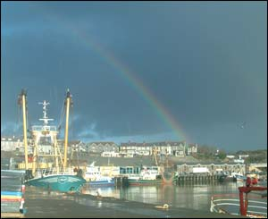 Rainbow over Milford Docks, Milford Haven, sent by Adrian Owens