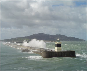 Holyhead breakwater in a gale taken from a ferry off Anglesey (Hefin Hughes)
