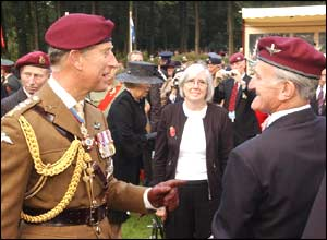 Prince Charles talks to a veteran paratrooper