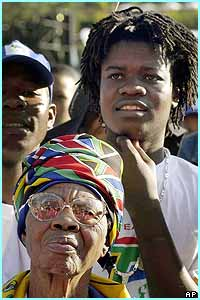People young and old gathered in the South African capital Pretoria to mark Freedom Day. This year is the 10th anniversary of the end of the government's official policy of racial discrimination.