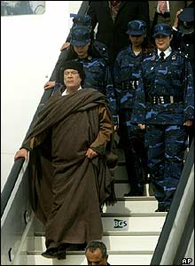 Gaddafi arrives in Brussels