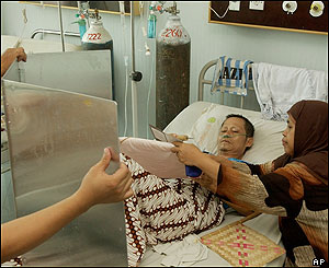 Asyiah, right, helps her husband Asmat to vote in a Jakarta hospital