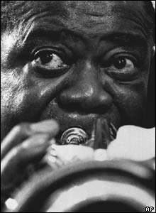 Eddie Adams portrait of jazz great Louis Armstrong practising on his gold-plated trumpet in New York