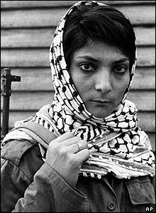 Leila Khaled in 1970 at a Palestinian refugee camp in Lebanon