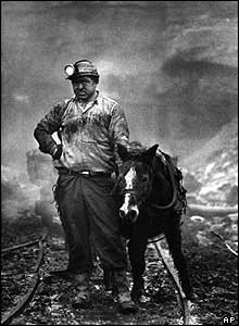 Pony driver John Streets outside an independent coal mine in Deamy Hollow, West Virginia