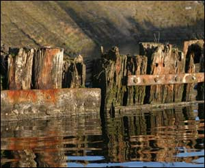 The gravings dock wall in Cardiff Bay, as taken by Nick Russill