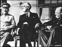 Joseph Stalin, Franklin D Roosevelt and Winston Churchill