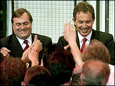 John Prescott and Tony Blair are congratulated by supporters