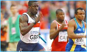 Dwain Chambers in the 4 x 100m relay race