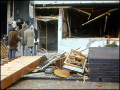 Bomb site at Deal barracks, 1989