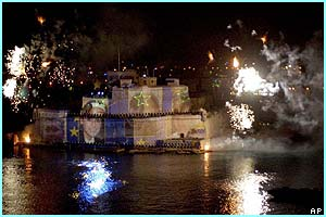 The Valletta Grand Harbour in Malta was transformed into a light and fireworks show.