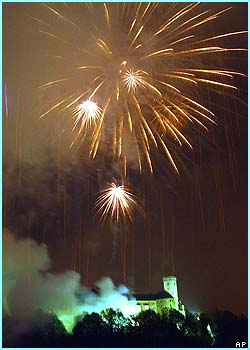 Fireworks lit up the sky above Ljubljana castle in Slovenia at midnight as it celebrated its new membership in the European Union. It's one of 10 new countires to join .