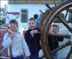 Harry, Jasmine and Joshua Axon on the Sedov in Milford Haven Harbour (Paul Axon)
