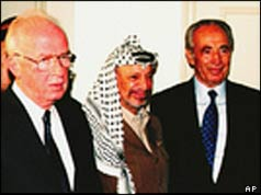 L-R, Rabin, Arafat and Peres