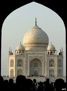View of the Taj Mahal from an archway