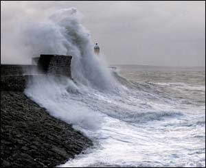 The recent storms at Porthcawl Harbour, sent in by Nick Russill
