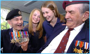 Girls from Abbey Grange meet veterans