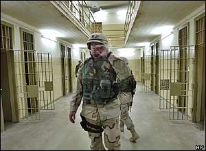 A US soldier inside the prison of Abu Ghraib, outside Baghdad, on Wednesday